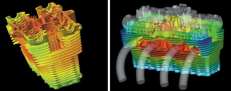 空冷エンジンの温度分布